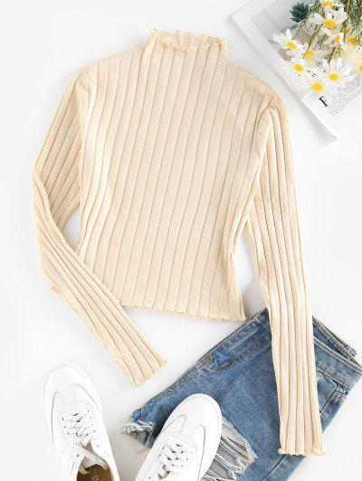 ZAFUL Lettuce Trim Ribbed Knit T Shirt - Light Yellow L
