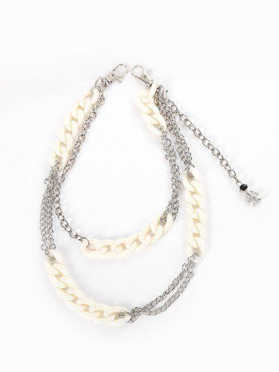 Acrylic Metal Layers Trousers Chain - Silver