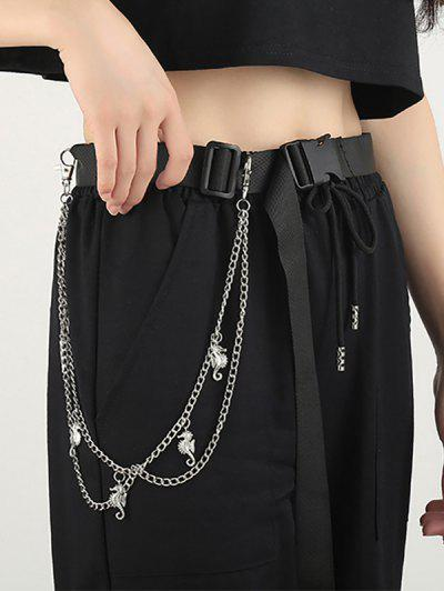 Sea Horse Pendant Layered Trousers Chain - Silver