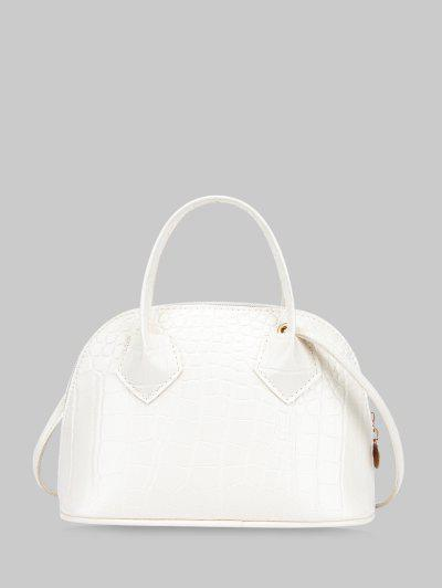 Animal Embossed Double Strap Crossbody HandBag - White