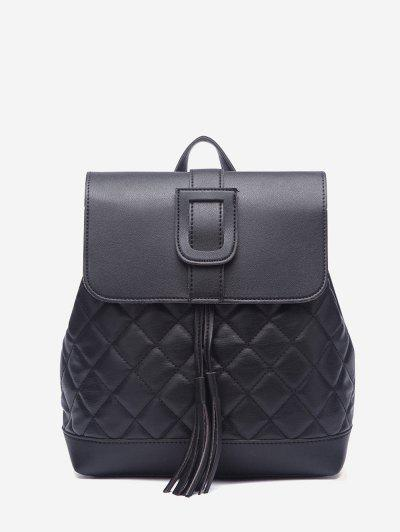 Quilted Drawstring Cover Backpack - Black
