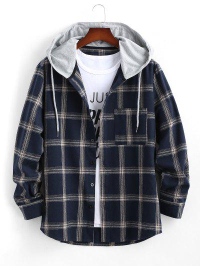 Long Sleeve Hooded Plaid Print Pocket Shirt - Deep Blue Xl