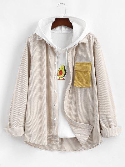 Corduroy Colorblock Pocket Long Sleeve Shirt - Light Coffee 2xl