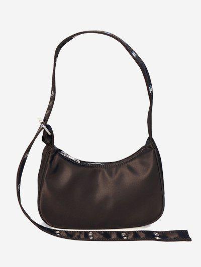 Simple Style Wide Strap Shoulder Bag - Deep Coffee