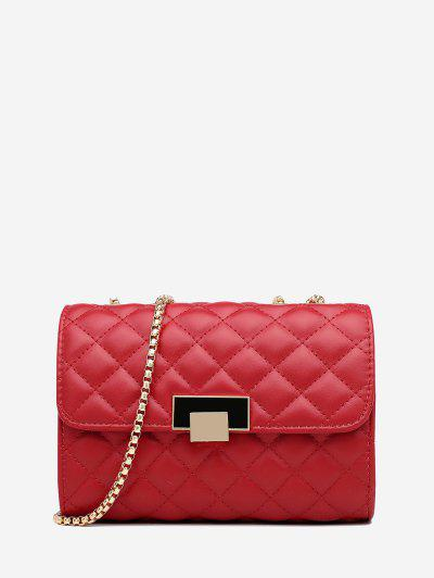 Geometric Pattern Quilted Crossbody Bag - Red Wine