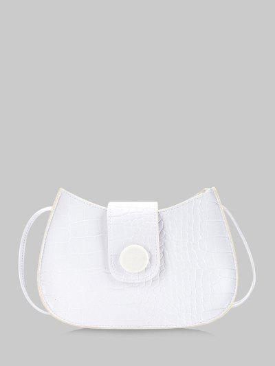 Textured Button Crossbody Bag - White