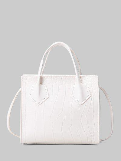 Square Solid Crossbody Bag - White