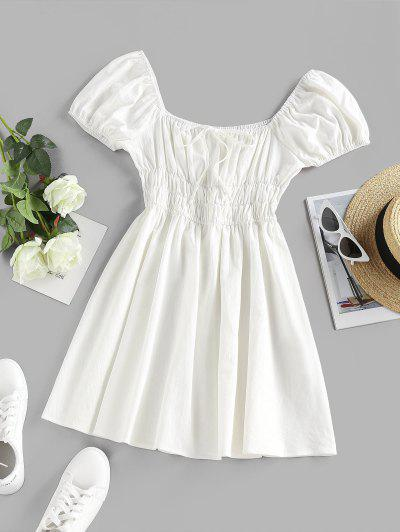 ZAFUL Smocked Tie A Line Puff Sleeve Dress - White L