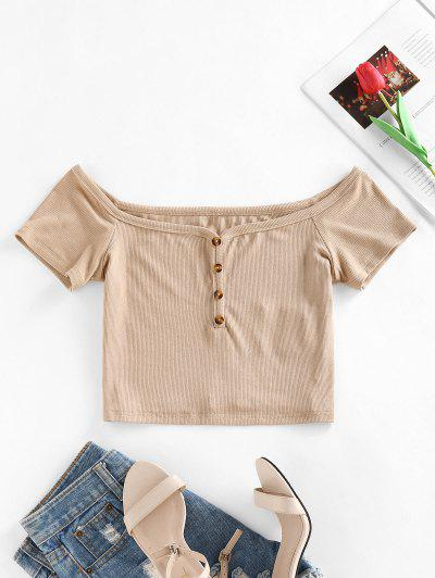 ZAFUL Ribbed Off Shoulder Buttoned T Shirt - Light Coffee S