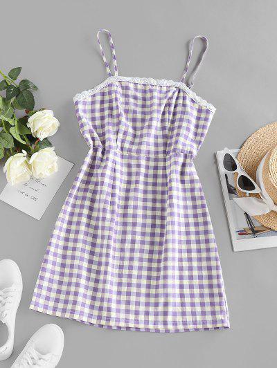 ZAFUL Plaid Pattern Mini Slip Dress - Light Purple M