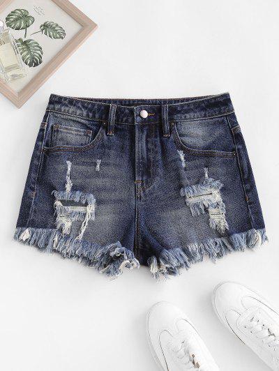 Frayed Ripped Denim Shorts With Pocket - Deep Blue Xl