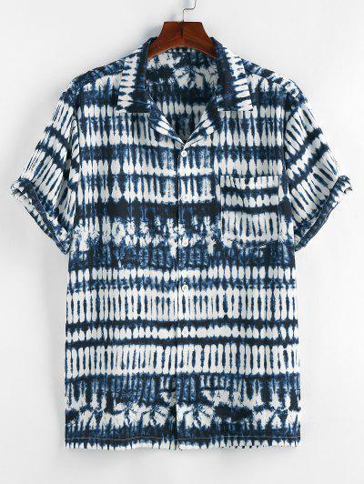 Zaful 넥타이 염료 인쇄 포켓 반팔 셔츠 - 진한 파랑 미디엄