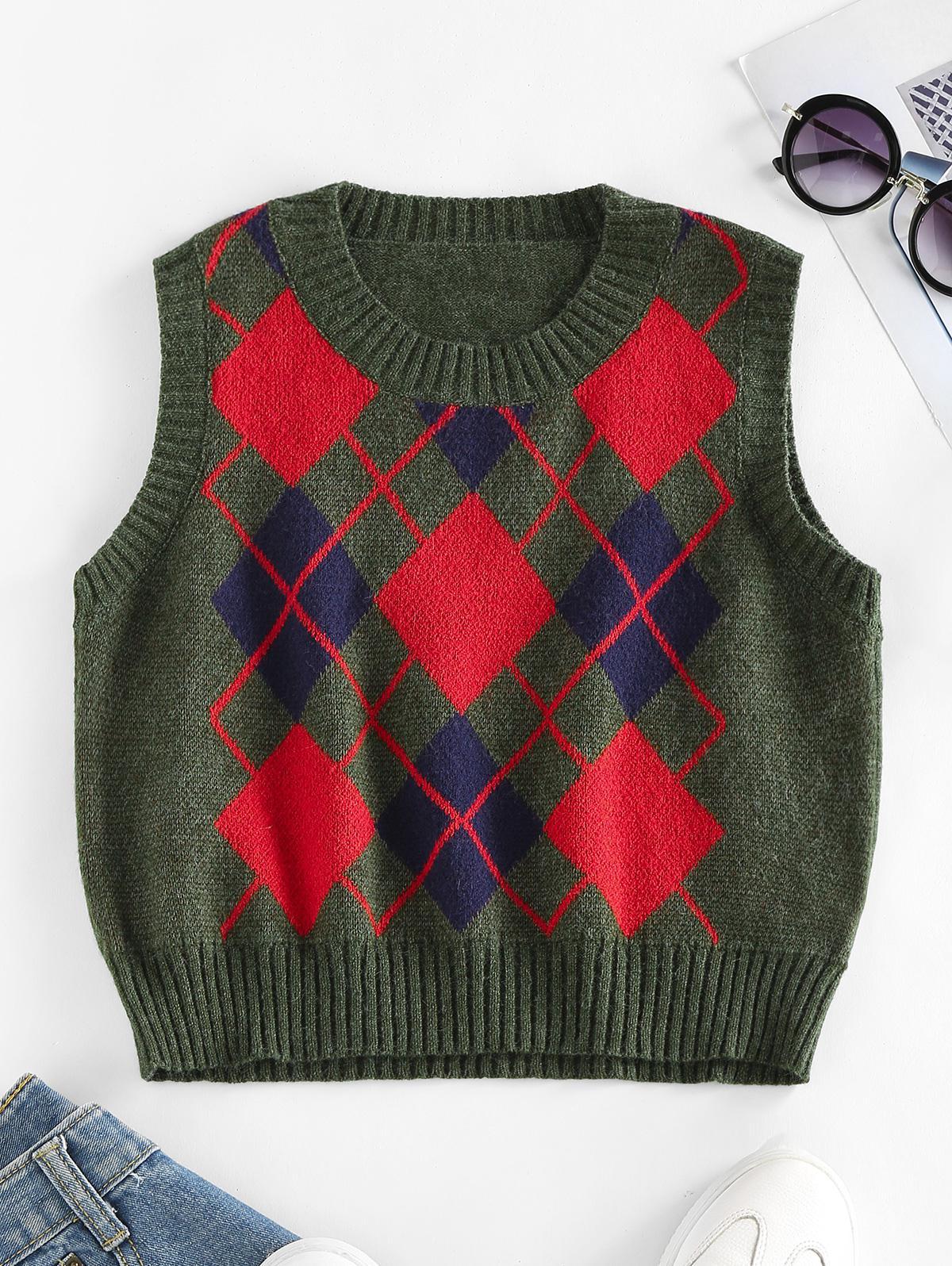 Zaful Argyle Rib Trim Sweater Vest