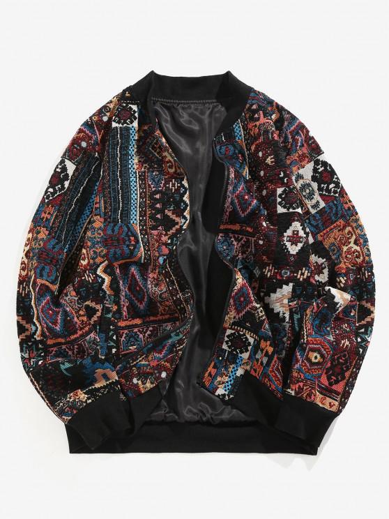 women ZAFUL Tribal Jacquard Zip Up Jacket - MULTI-A 2XL