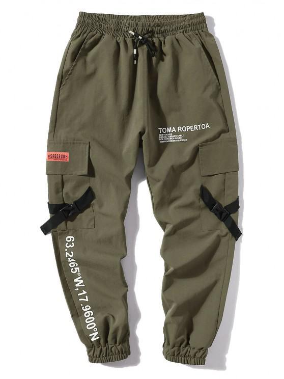 Letter Print Flap Pockets Cargo Jogger Pants - الجيش الأخضر XL