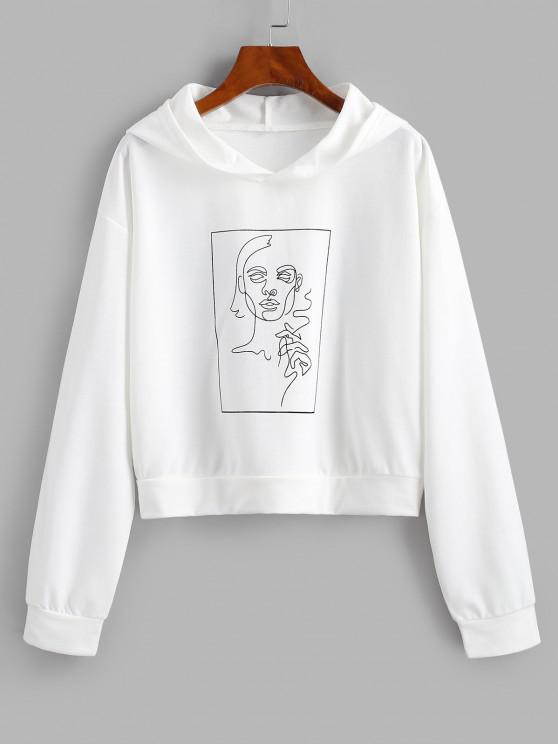 Drop Shoulder Sketching Figure Graphic Hoodie - أبيض M