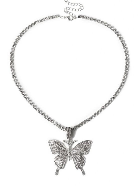 affordable Big Butterfly Pattern Rhinestone Necklace - SILVER