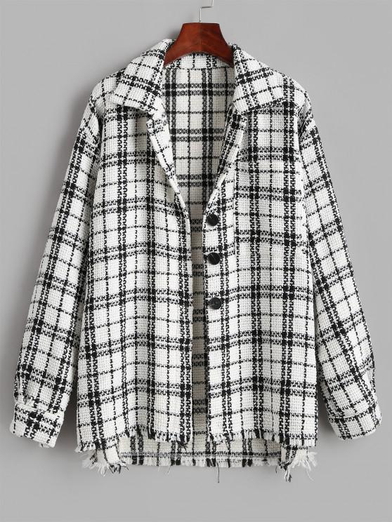 Plaid Tweed Front Pocket Shacket - أبيض S