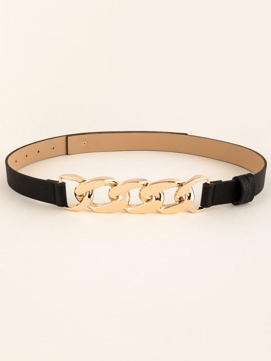 trendy Interlocked Rings Link Dress Belt - BLACK