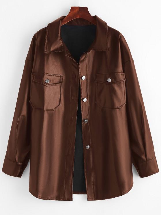 women Faux Leather Front Pocket Shacket - COFFEE L
