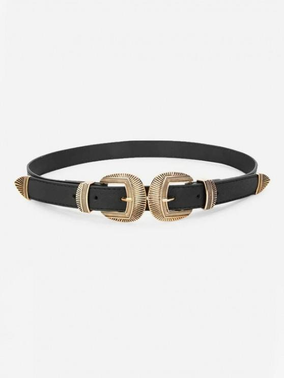 unique Retro Engraved Double Buckle Waist Belt - BLACK