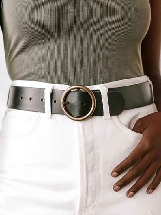 Cinturón de Hebilla Circular Casual Cuero PU - Negro
