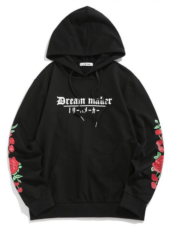 latest ZAFUL Dream Maker Flower Hoodie - BLACK XXL