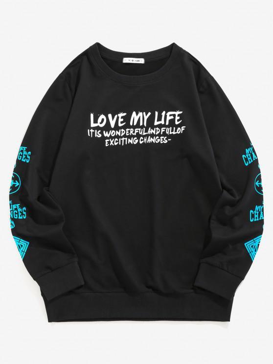 ZAFUL Love My Life Slogan Graphic Sweatshirt - أسود L