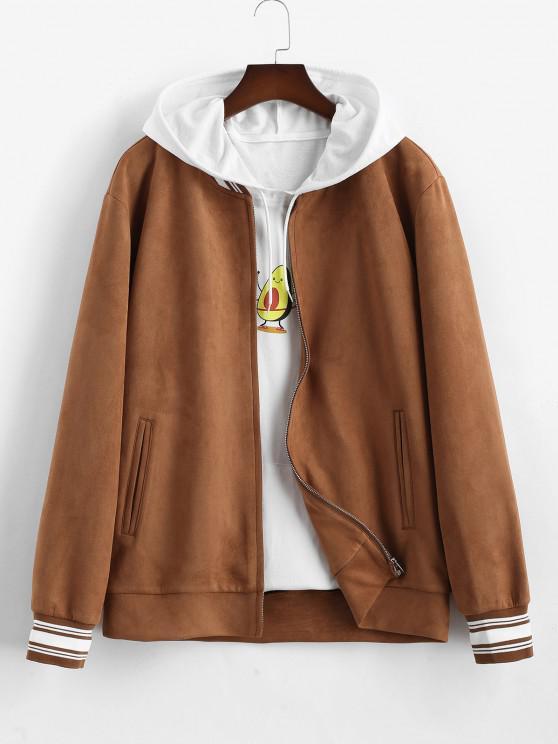 Stripe Pattern Suede Baseball Jacket - قهوة L