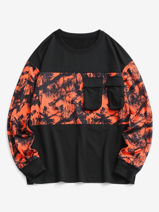 Tree Branches Paint Panel Crew Neck Sweatshirt - أسود XL