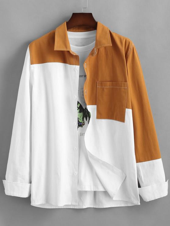 fashion Colorblock Long Sleeve Pocket  Shirt - WHITE 2XL