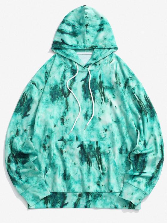 Tie Dye Front Pocket Drawstring Hoodie - أخضر 2XL
