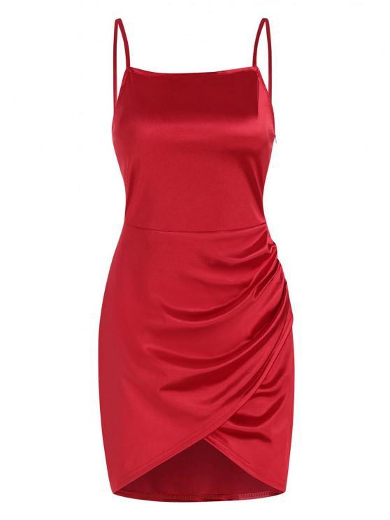 fancy Overlap Silky Draped Slinky Slip Dress - RED M
