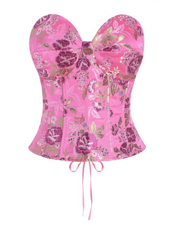 affordable Lace Up Floral Jacquard Oriental Corset Top - LIGHT PINK S