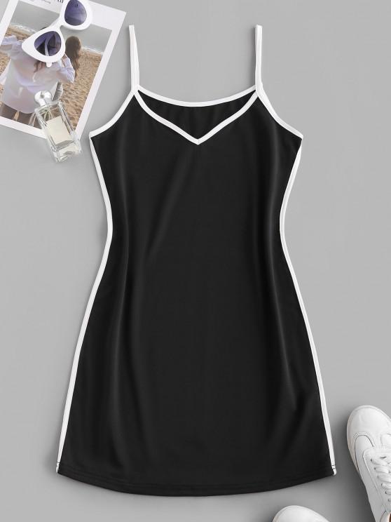 fashion Contrast Binding Cami Mini Tank Dress - BLACK M