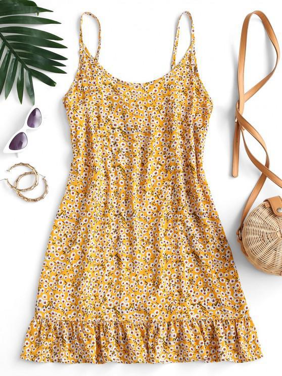 Ditsy Print Flounce Hem Mini Dress - الأصفر L
