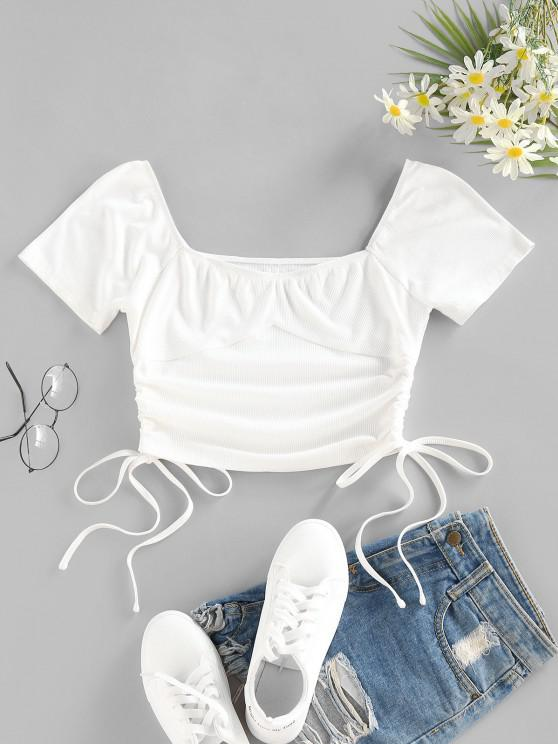ZAFUL Ribbed Cinched Tie Crop Tee - أبيض S