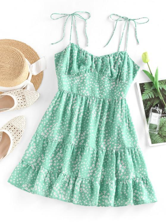 buy ZAFUL Ditsy Print Tie Shoulder Cupped Tiered Dress - LIGHT GREEN M