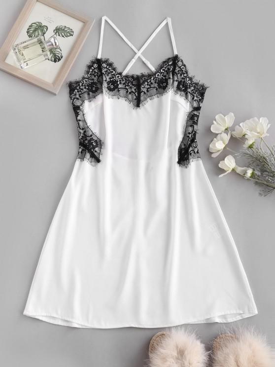 women Lace Eyelash Panel Criss Cross Slip Backless Dress - WHITE M