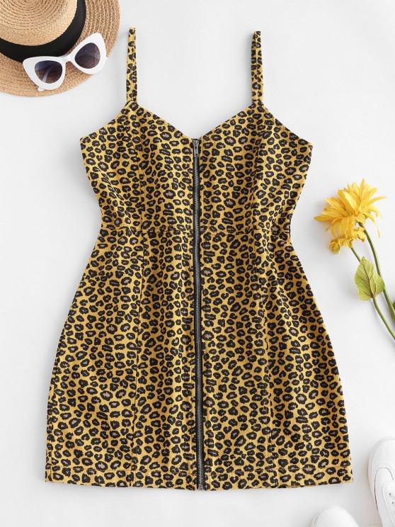 best Leopard Zip Front Denim Bodycon Dress - DEEP YELLOW M