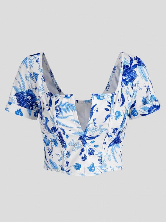 outfits Hook and Eye Plant Print Corset Detail Crop Top - BLUE S