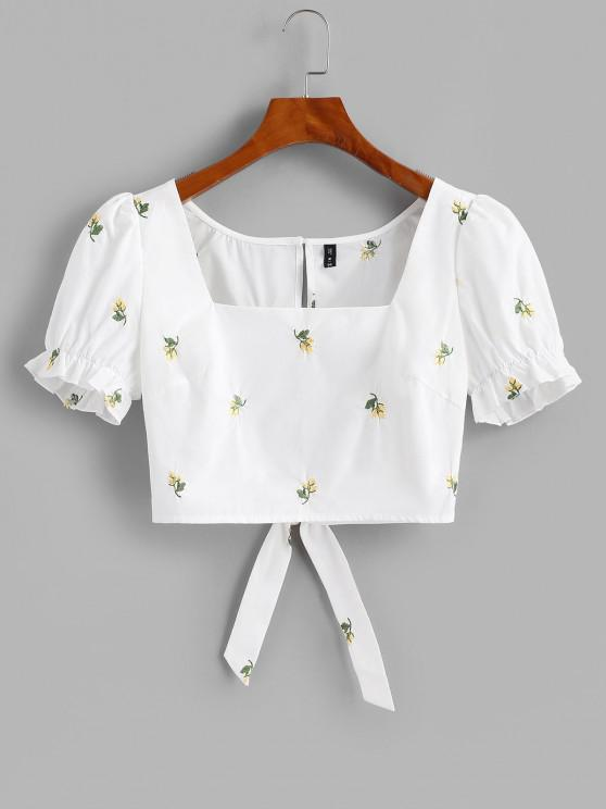 latest Flower Embroidered Puff Sleeve Ruffle Cutout Crop Blouse - WHITE L