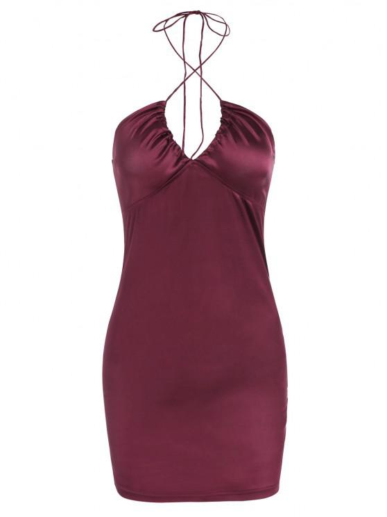 women Satin Halter Mini Bodycon Dress - DEEP RED M