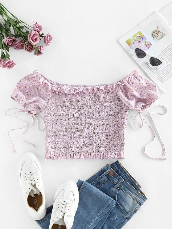 ZAFUL Ditsy Print Smocked Ruffle Off Shoulder Crop Blouse - ضوء ارجواني M