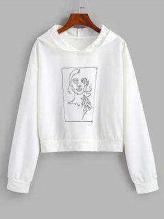 Drop Shoulder Sketching Figure Graphic Hoodie - White M