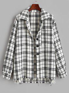 Plaid Tweed Front Pocket Shacket - White S