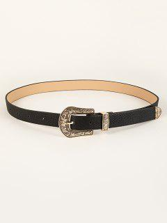Leaf Floral Pattern Buckle Belt - Black