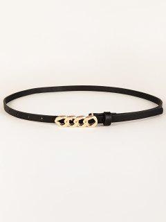 Chain Shape Buckle Skinny Belt - Black