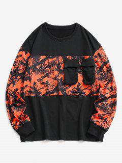 Tree Branches Paint Panel Crew Neck Sweatshirt - Black L