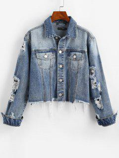 Ripped Frayed Pocket Trucker Denim Jacket - Light Blue M